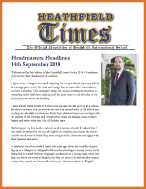 Heathfield Times The Official Newsletter of Heathfield International School (14th September 2018)
