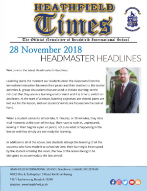 Heathfield Times The Official Newsletter of Heathfield International School (28 November 2018)