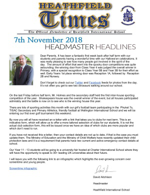 Heathfield Times The Official Newsletter of Heathfield International School (7 November 2018)