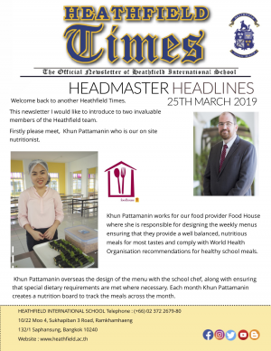 Heathfield Times The Official Newsletter of Heathfield International School (25 March 2019)