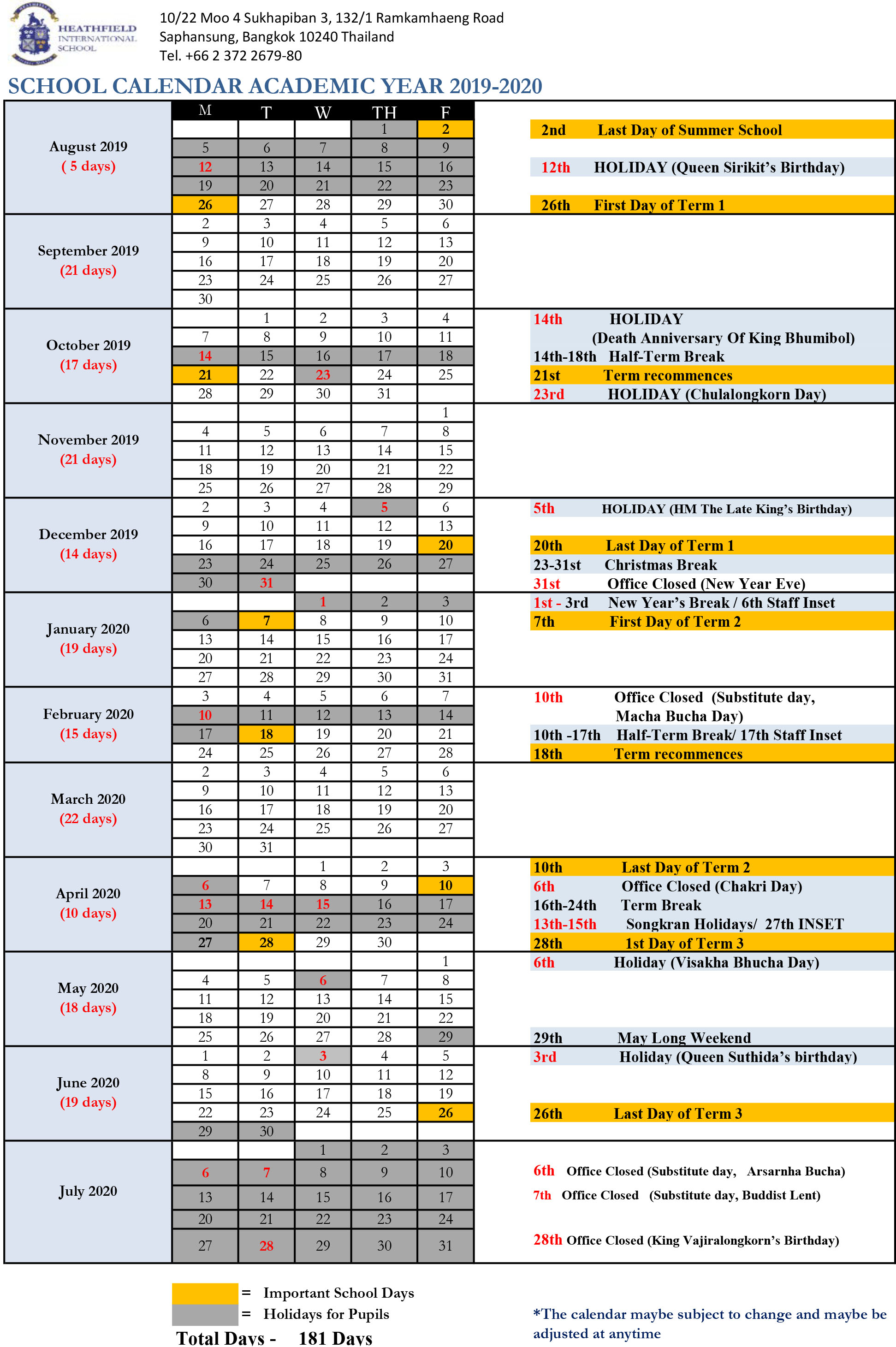School Calendar 2019 2020 Revised May 19